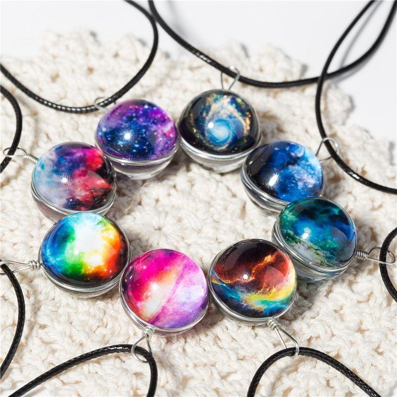 Galaxy Necklace Jewelry Ideas Galaxynecklace Galaxyjewelry Galaxy Necklace Planet Star Women Glass Bal Crystal Ball Necklace Galaxy Necklace Galaxy Jewelry