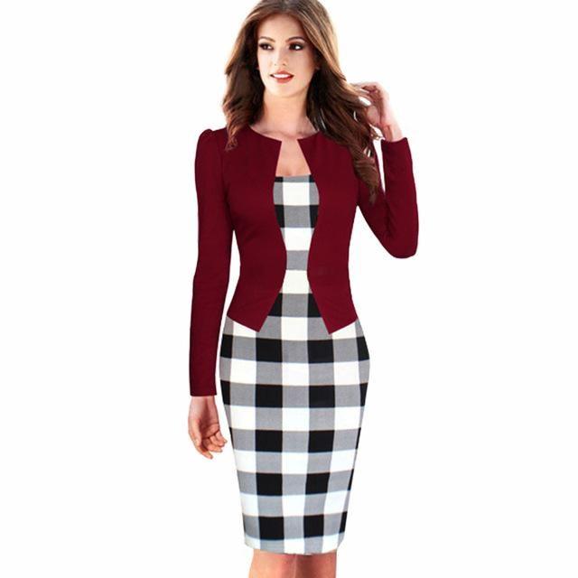 Business Dress Elegant Red Office