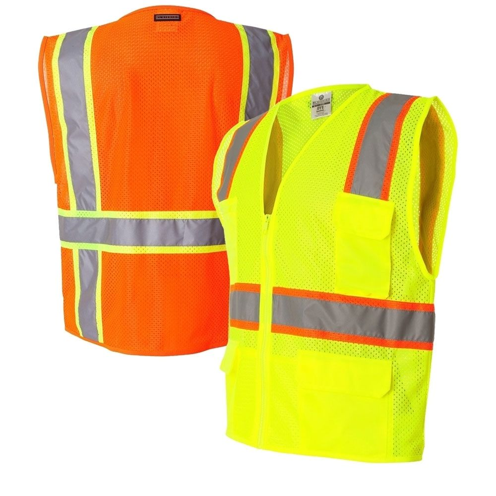 Orange Full Source Class 2 Reflective Mesh Safety Vest with Pockets