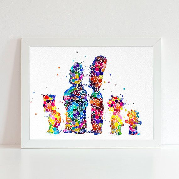 The Simpsons watercolor illustration art print The by VividCity