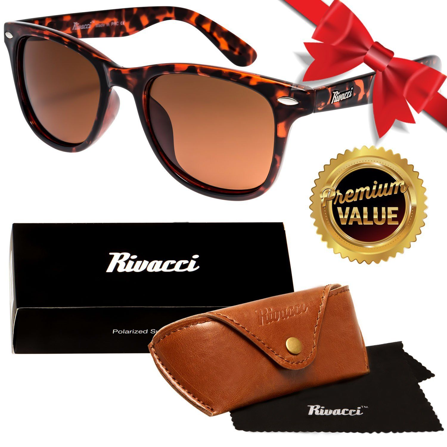 2f8e5b13ff Amazon.com  Rivacci Unisex s Wayfarer Tortoise Frame   Brown Lens Medium  49mm Designer Polarized Sunglasses  Sports   Outdoors