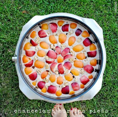 "a recipe for ""salutiamoci"":  mixed cereals cake with peaches and apricots"