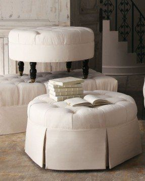 Leather Upholstered Round Tufted Ottoman Ottomans Round