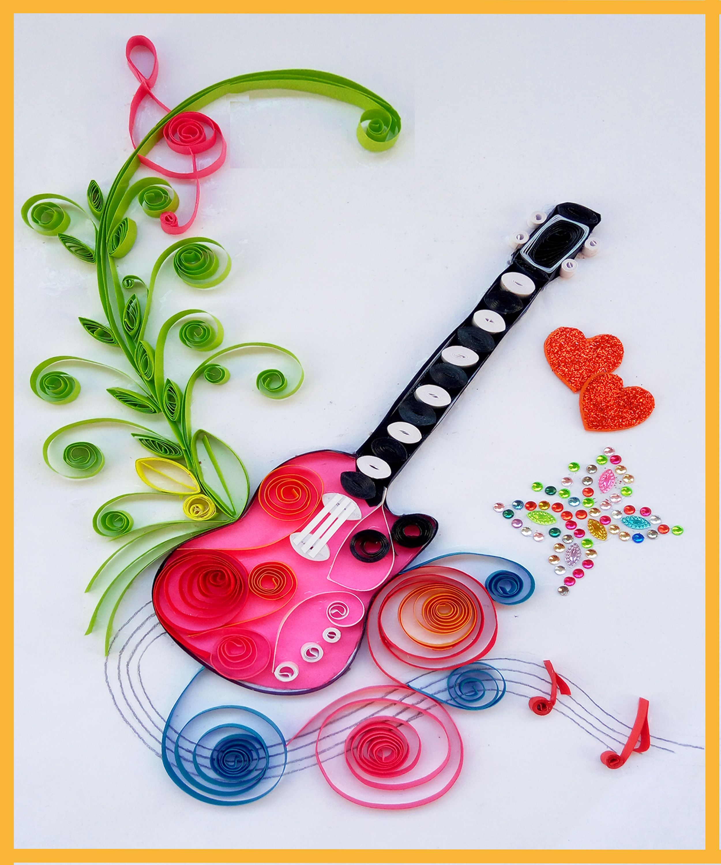 How To Make Quilling Beautiful Guitar Birthday Greeting Card Paper Quilling Art Dear All This Paper Quilling Jewelry Paper Quilling Designs Paper Quilling