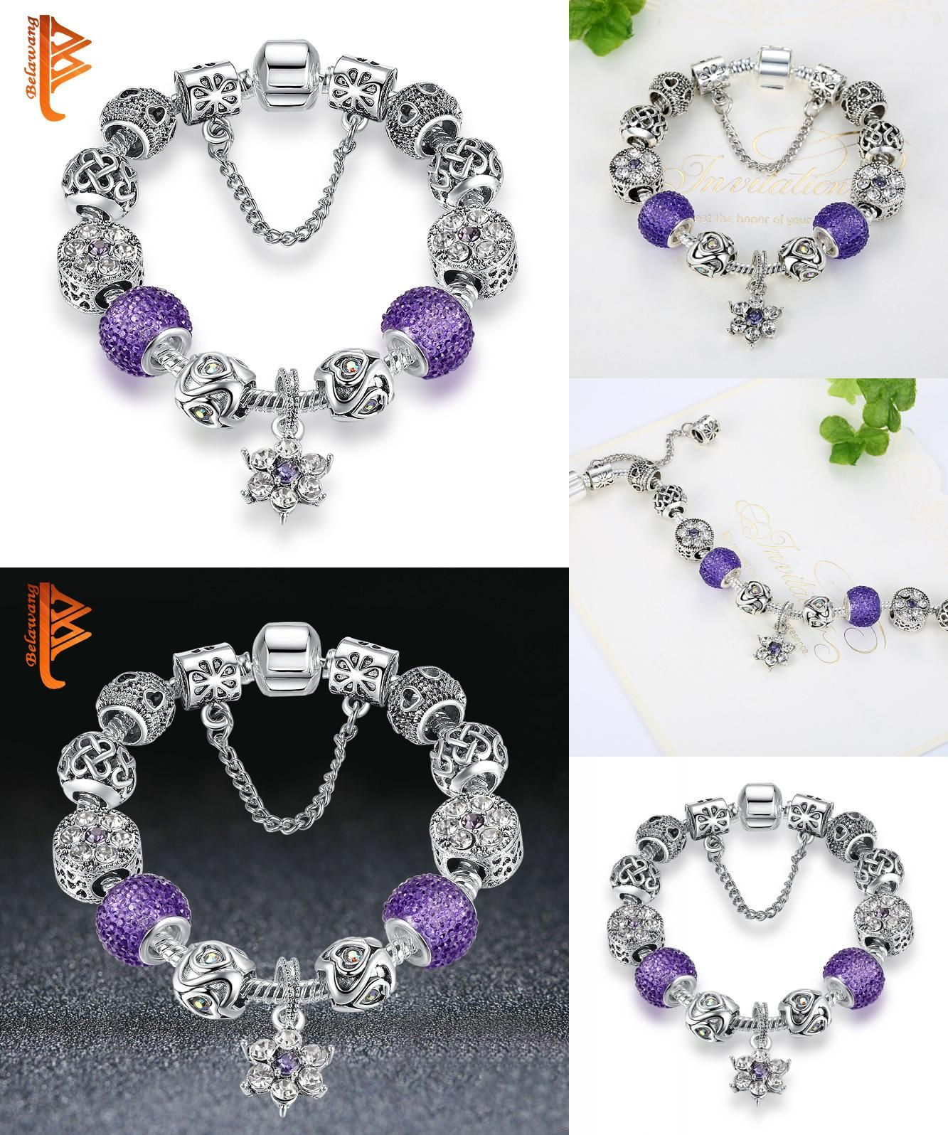 d4372cb5b [Visit to Buy] BELAWANG Fashion Bead Jewelry Silver Color Purple Forget Me  Not Crystal Flowers Bead Charm Bracelet for Women with Safety Chain # ...