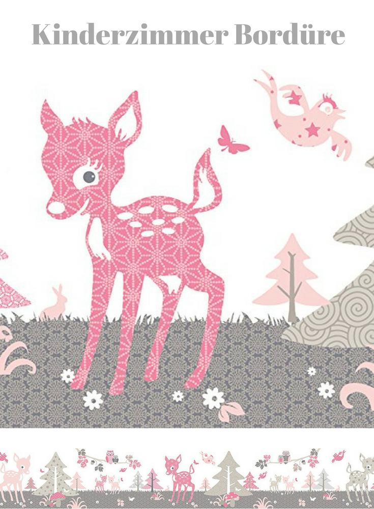 Wandgestaltung Im Babyzimmer Wand Bordure Selbstklebend Rehlein Rosa Taupe Wandbordure Kinderzimmer Babyz Kinder Zimmer Kinderzimmer Babyzimmer