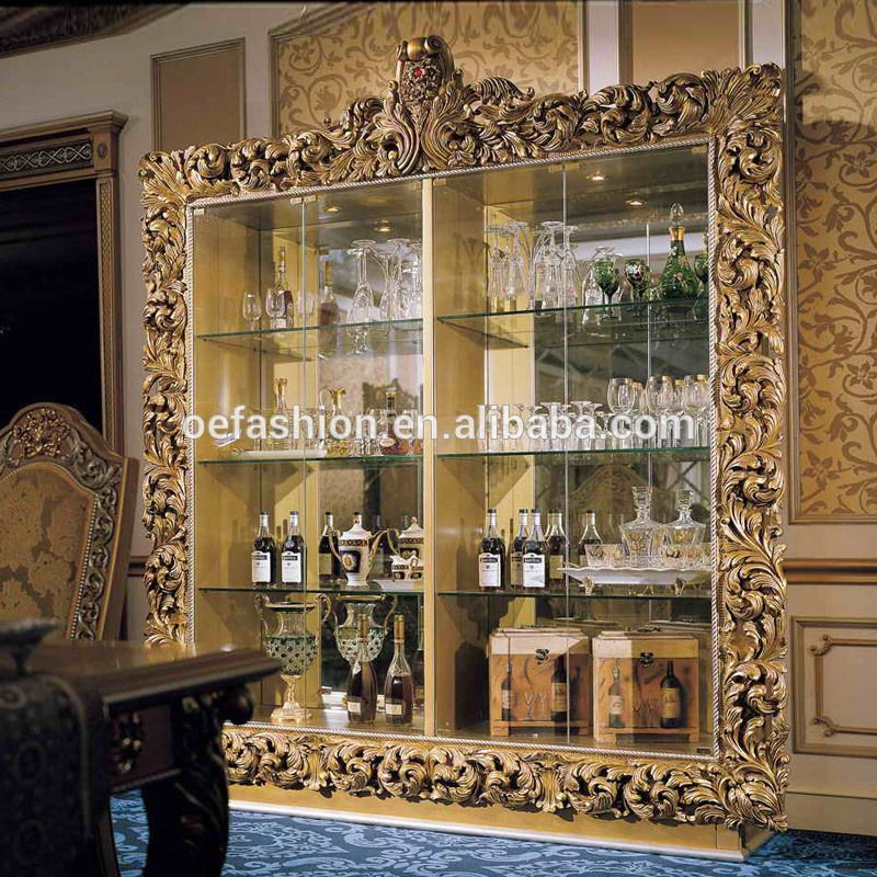 Oe Fashion Luxury Solid Wood Carving Wine Cabinet Antique Wine