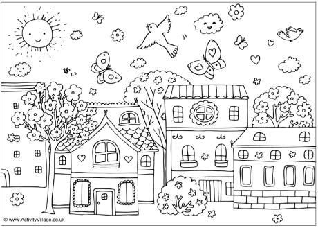 spring street colouring page i love this scene i moved my original pin to my buildings board