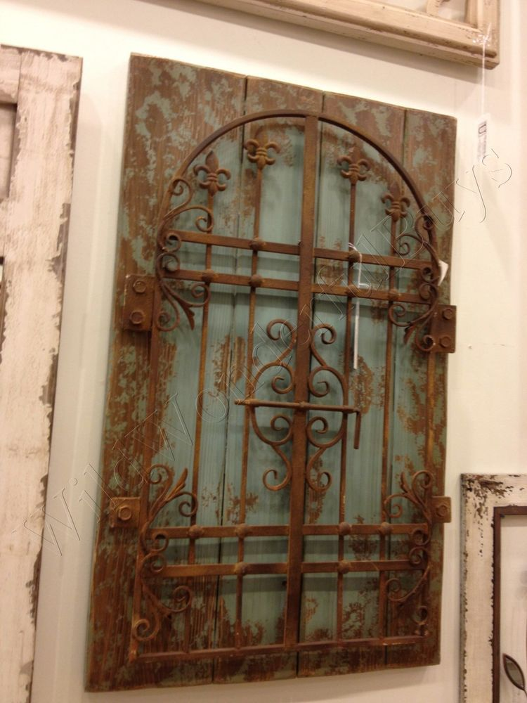 "Metal Gate Wall Decor rustic iron distressed blue garden gate wall decor 36"" shabby"