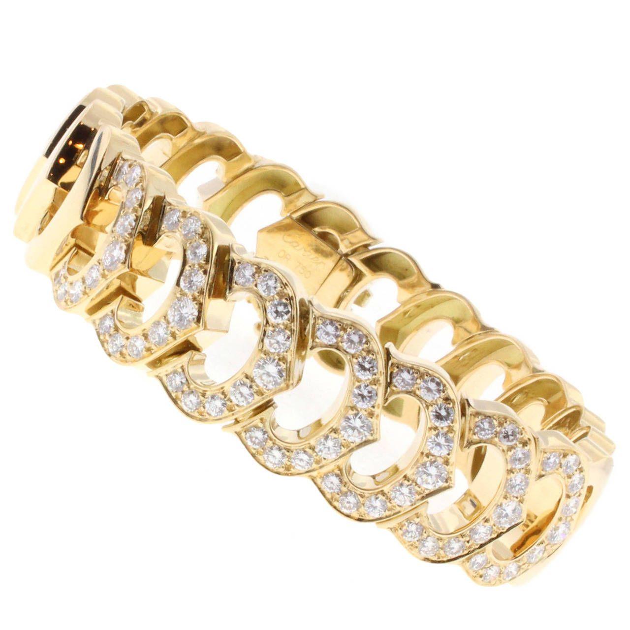 Cartier C de Cartier Diamond Gold Link Bracelet | 1stdibs.com