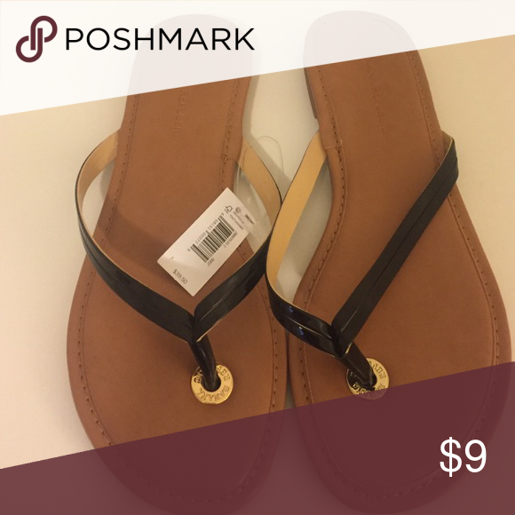 cbfdf02f6a51 Banana Republic mazzy flip flops new with tags 7 Black patent flip flop.  Tan leather bottom. NWT Banana Republic Shoes Sandals