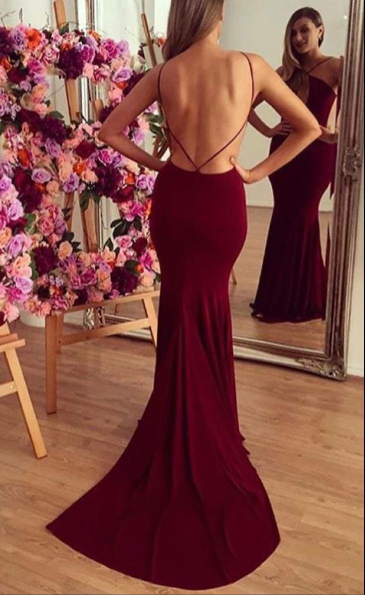 Long mermaid prom dressesburgundy mermaid formal gownsbackless