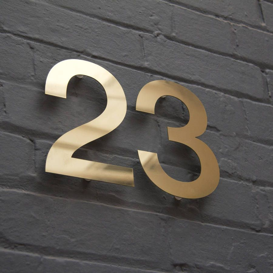 Modern Brass House Numbers Modern Signage and House