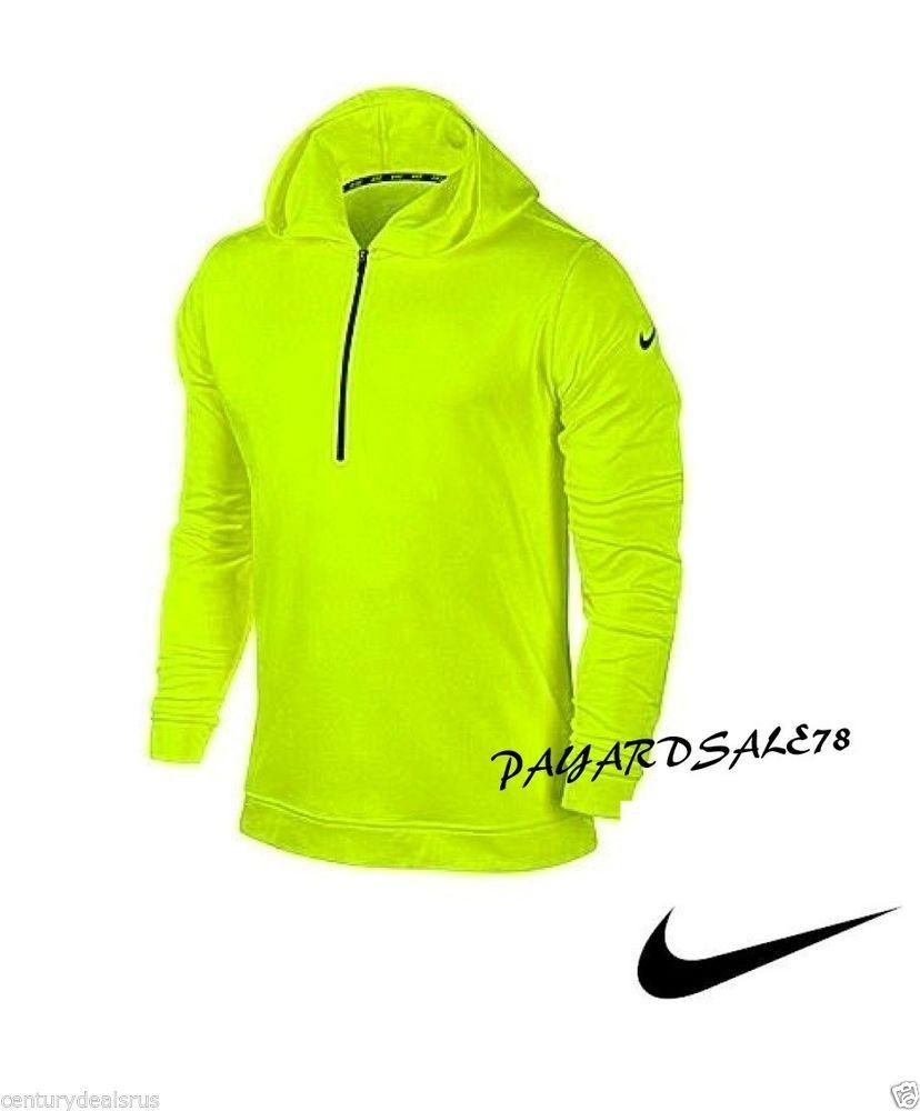 Men 39 S Nike Dri Fit Half Zip Hoodie Volt Black Dri Fit