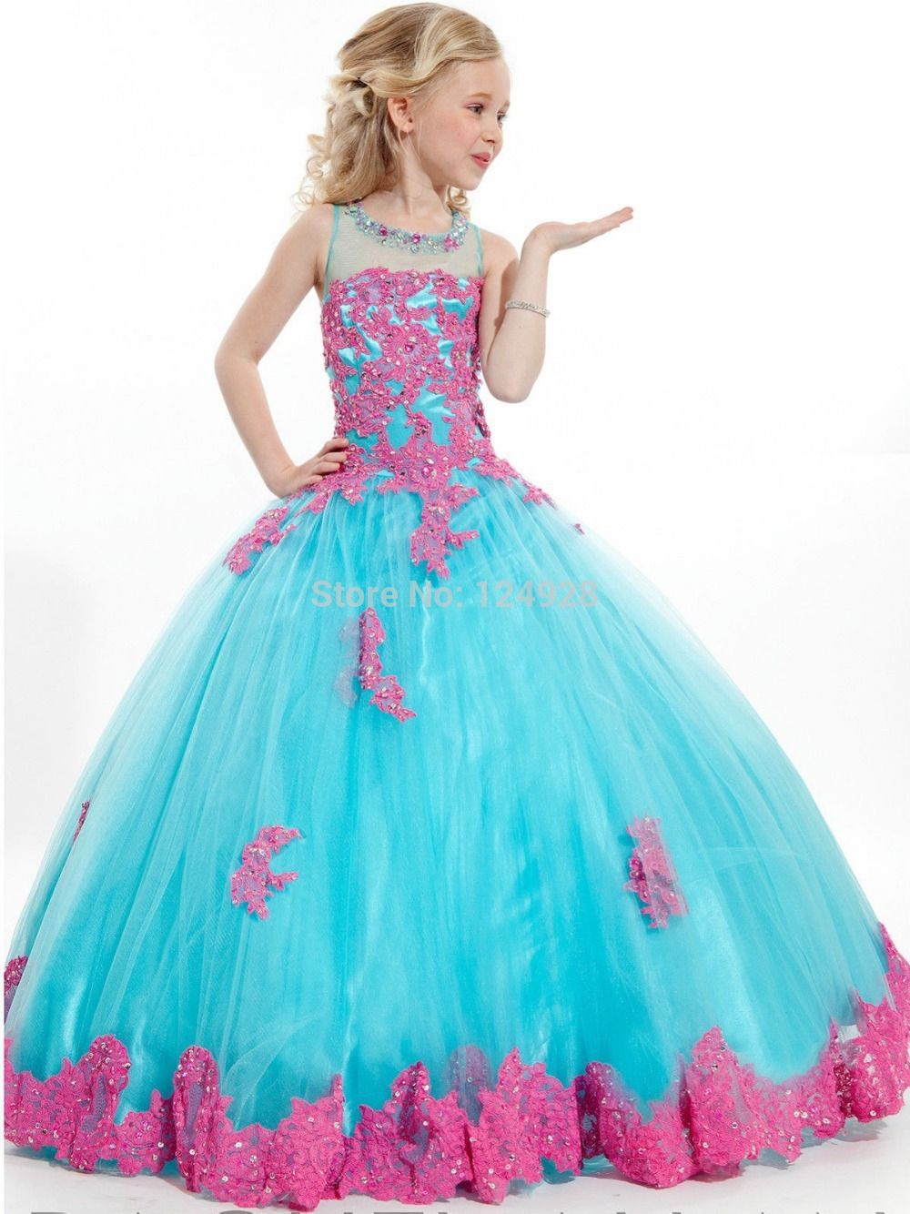 2015 Girls Pageant Dresses Ball Gown High Collar Blue Green Red ...