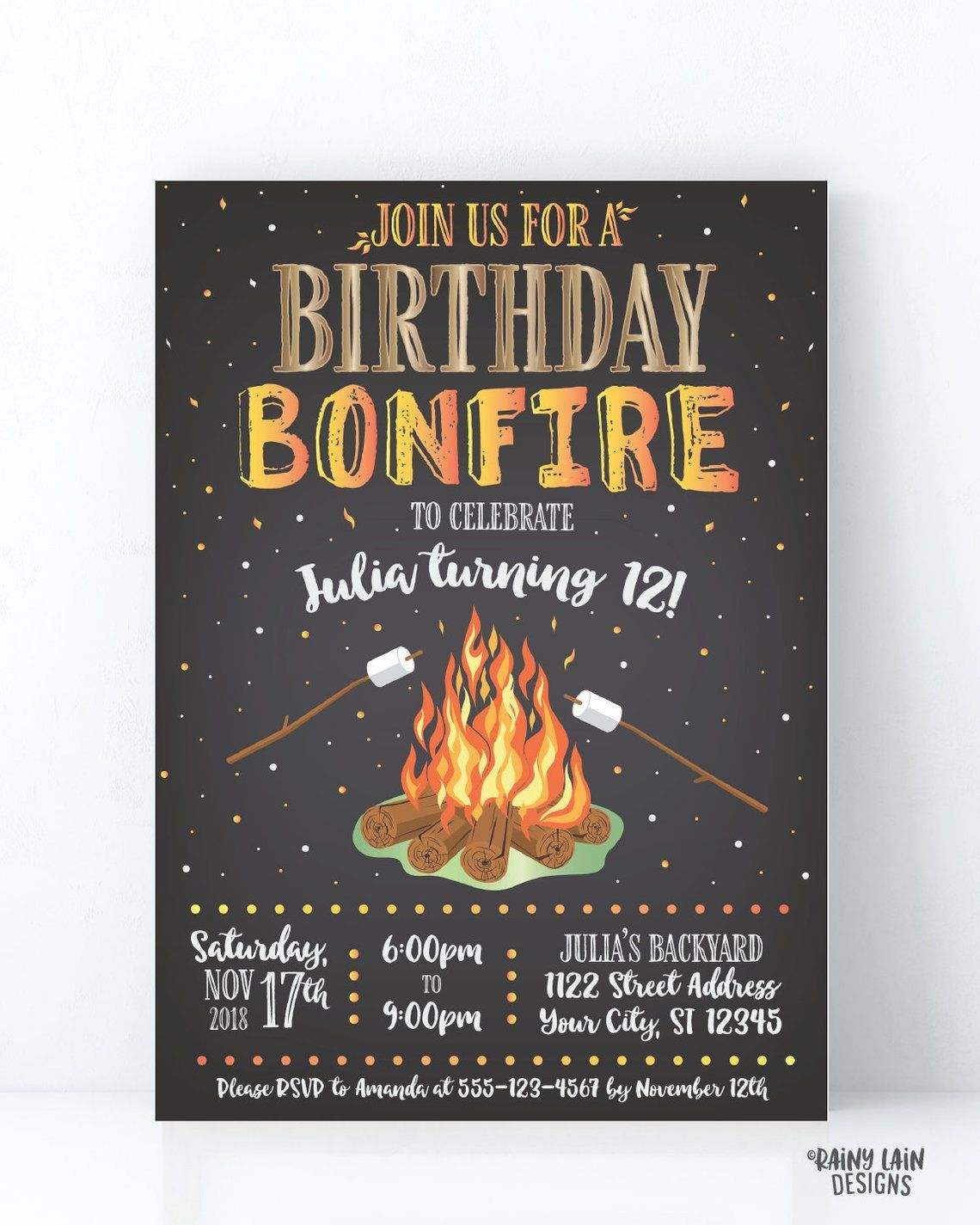 Bonfire Birthday Invitation Backyard Invite Smores