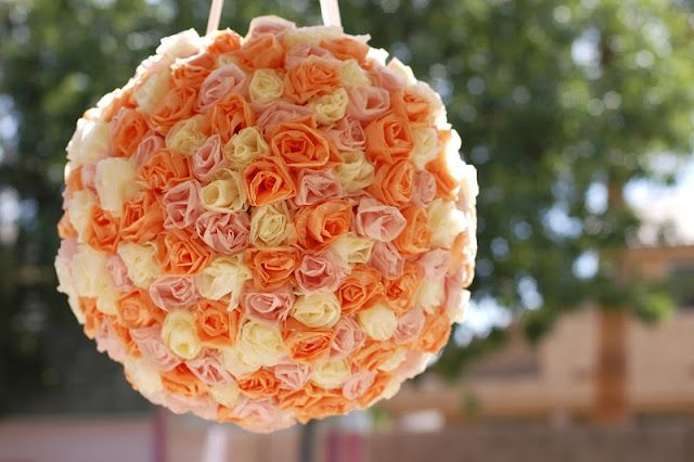 complete tutorial for a pretty pomander or piñata  covered with gorgeous tissue paper roses