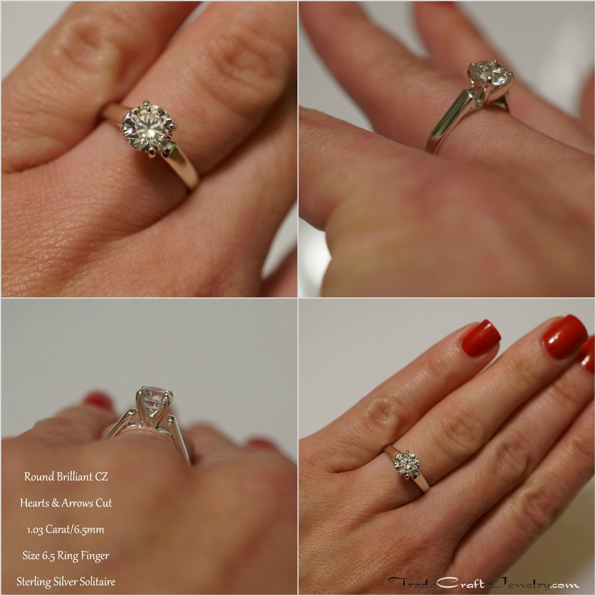 Sterling Silver Cz Cathedral Solitaire Engagement Promise Ring