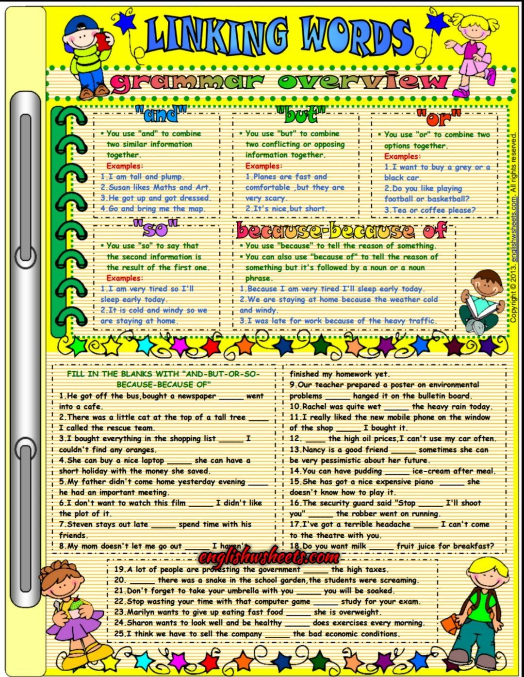 Linking Words Esl Printable Grammar Exercises Worksheet