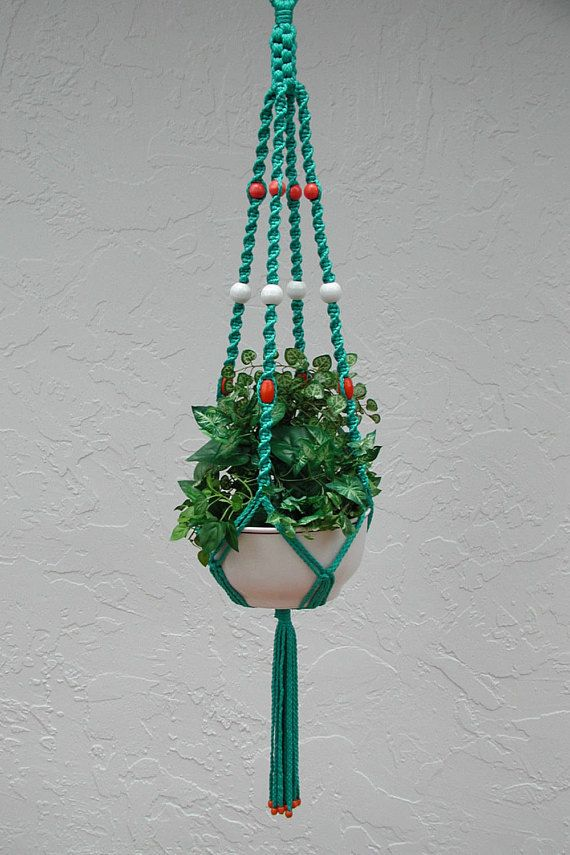 Macrame Plant Hangers, Hanging Plants, Plant Holder, Teal Macrame Hanger,  Pink Macrame