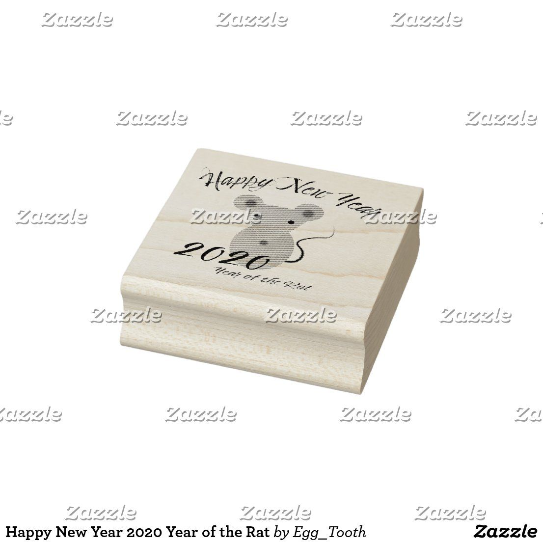 Happy New Year 2020 Year of the Rat Rubber Stamp Zazzle