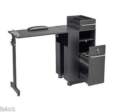 Pibbs 2009bk Portable Nail Station Manicure Table On Wheels Folds Up Manicure Table Nail Station Manicure Station