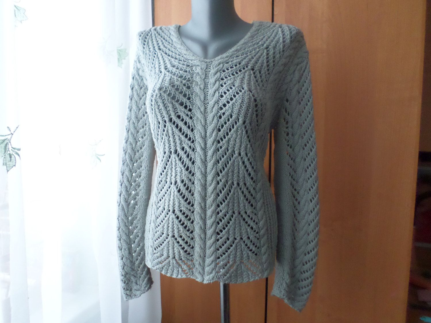 Knit Lace Sweater V Neck Sweater Knit Woman's Сlothing Hand Knit ...