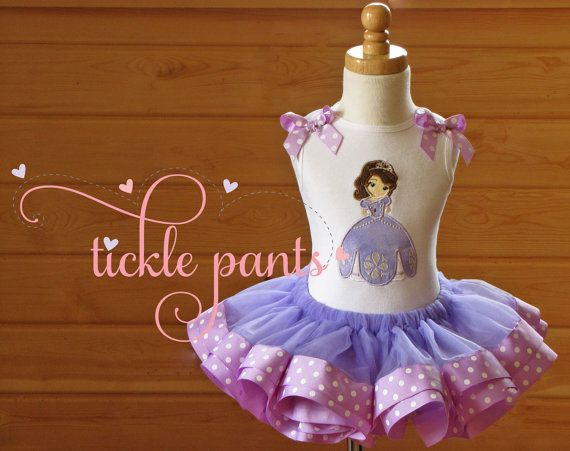 Sofia the 1st Birthday Tutu Outfit Lavender dots by TicklePants