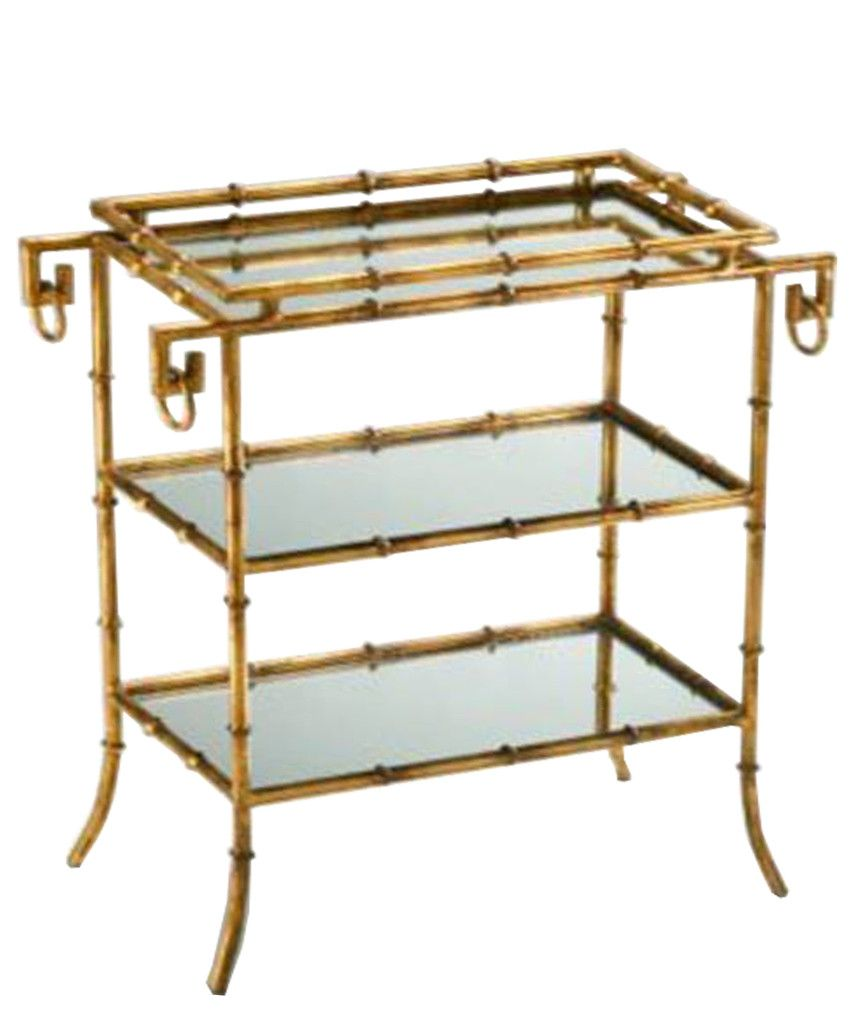 Gold Faux Bamboo Mirrored Side Table