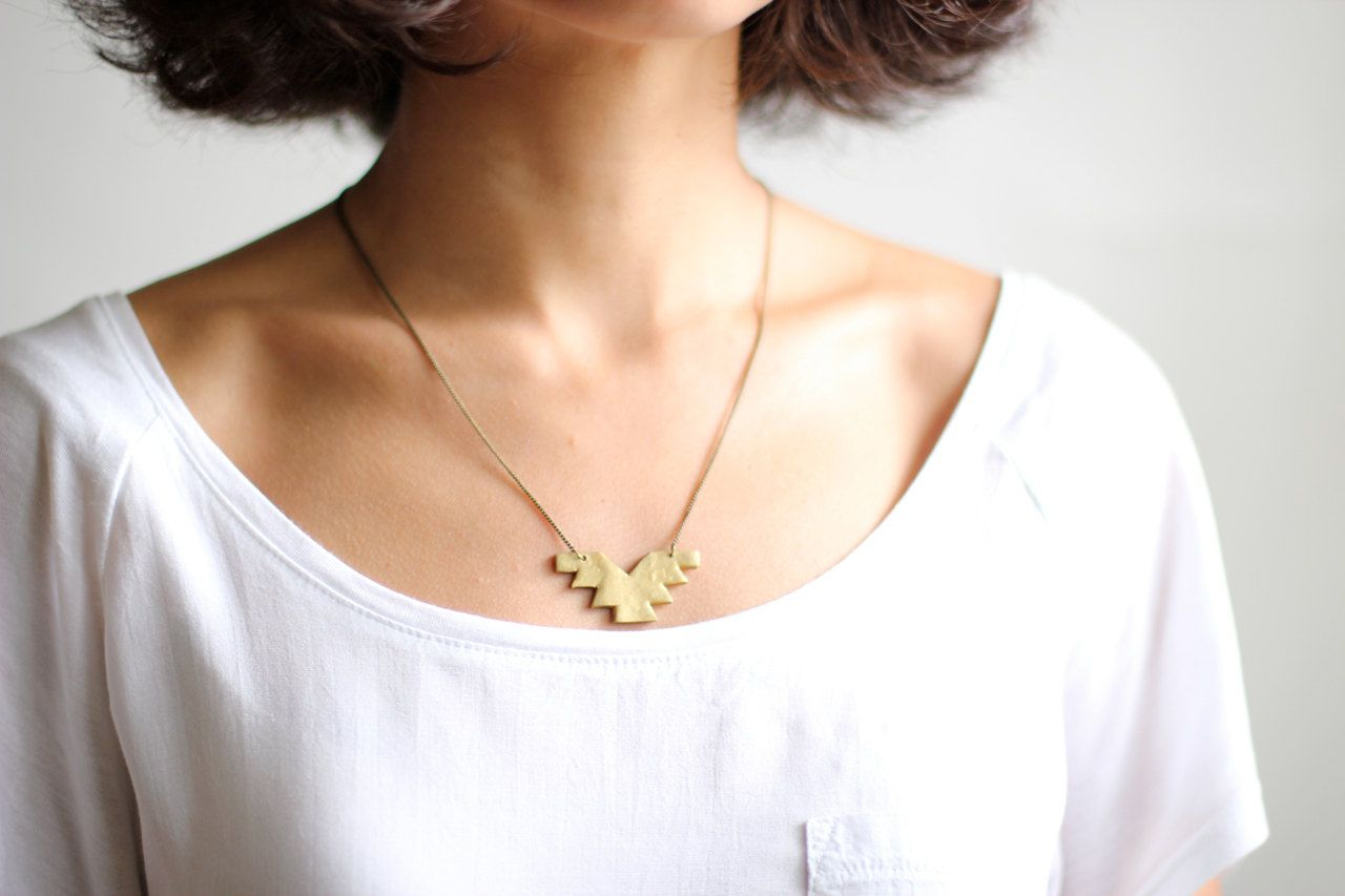 Geometric Minimalist Phoenix Gold Necklace - Antiqued Brass Chain
