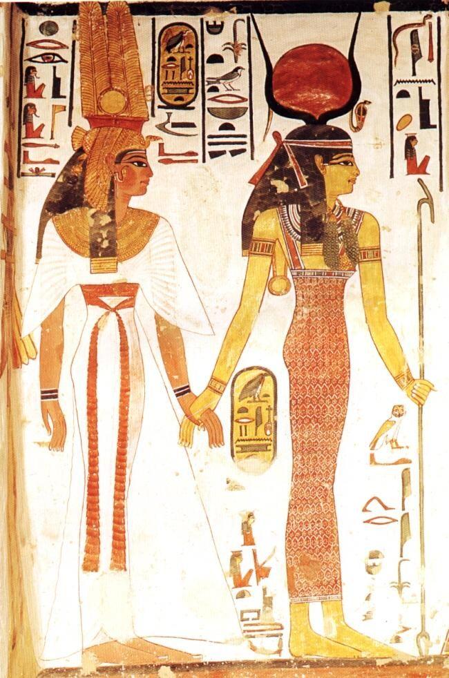 Egyptian Goddess Hathor leading Queen Nefertari