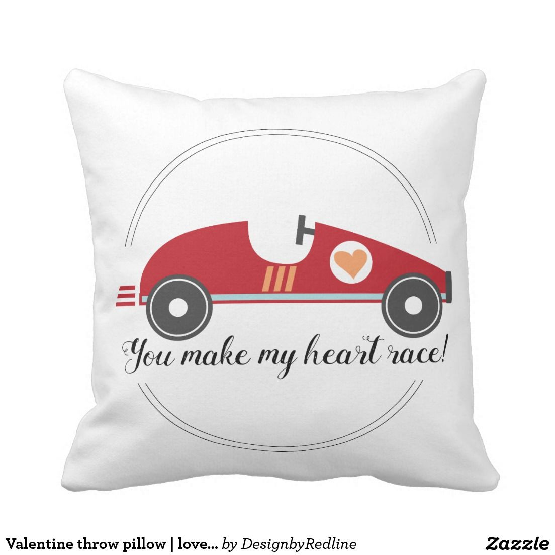 Valentine Throw Pillow Love Quote Race Car Pillows Throw