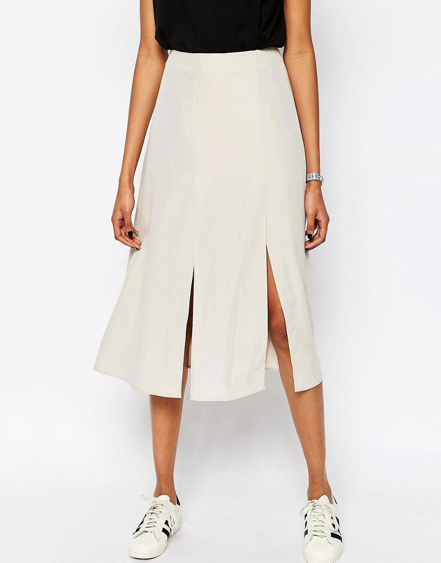 Image 4 of ASOS Soft Wrap Midi Skirt with Splices
