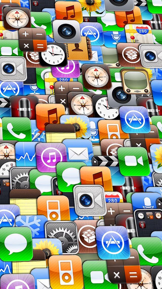 SLANTED collage of apple iOS app icons Apple icon, Ios