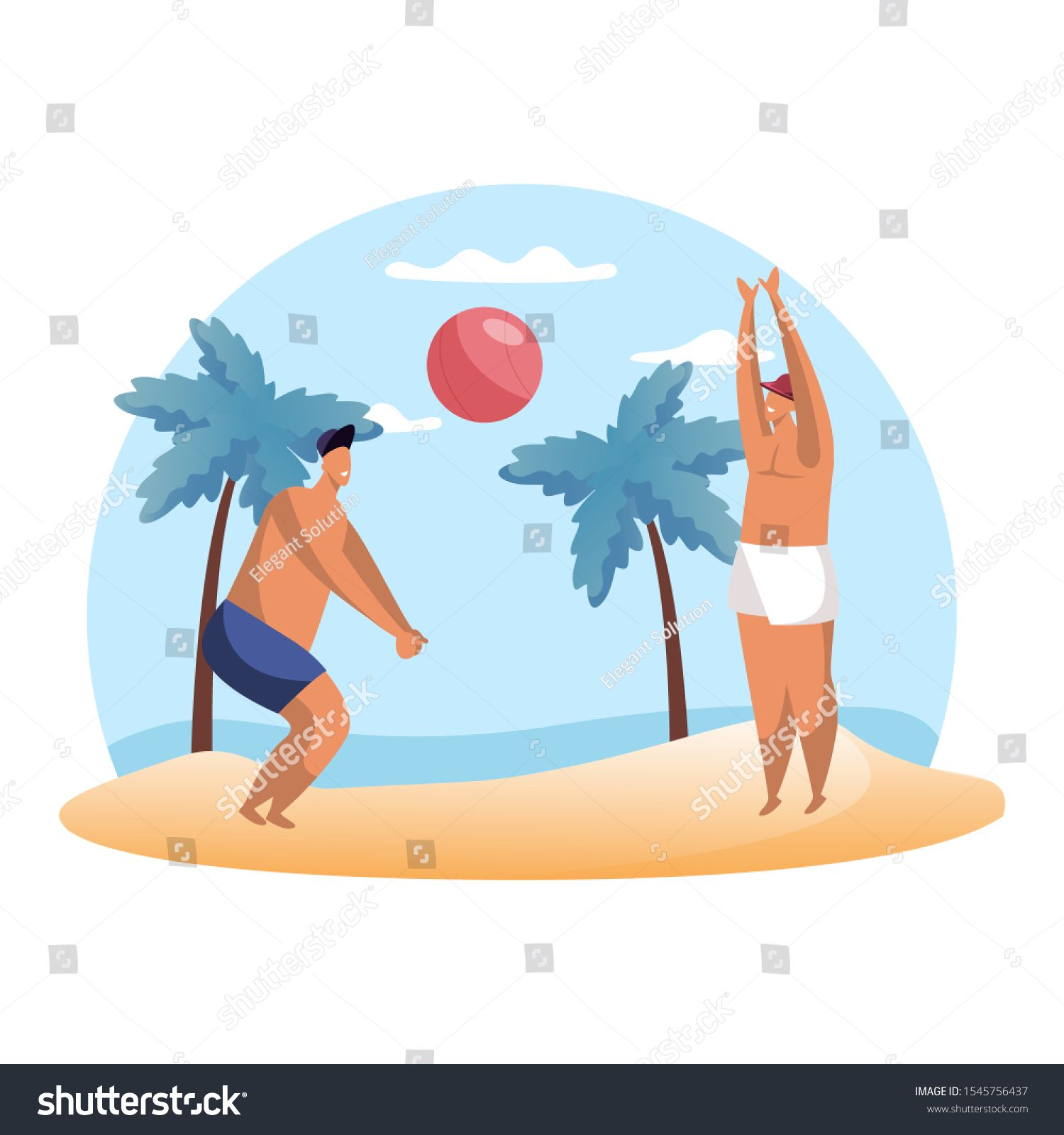 Cartoon People Playing Summer Volleyball On Beach Man Playing Hand Ball Sport Summertime Hobby Volley Play And Game Ex Cartoon People Cartoon Sea And Ocean