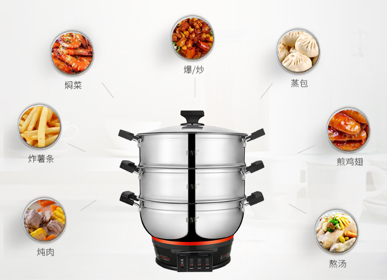 Multifunctional Steamer 304 Stainless Steel Large Capacity Electric Food Steamers 3 Layers Energy-saving Electric Steamer 220v Home Appliances