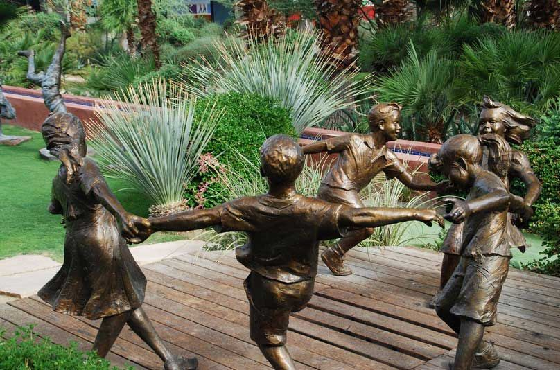children garden statues. Best Garden Decoration Ideas With Bronze Children Statues On Top Of The Deck N