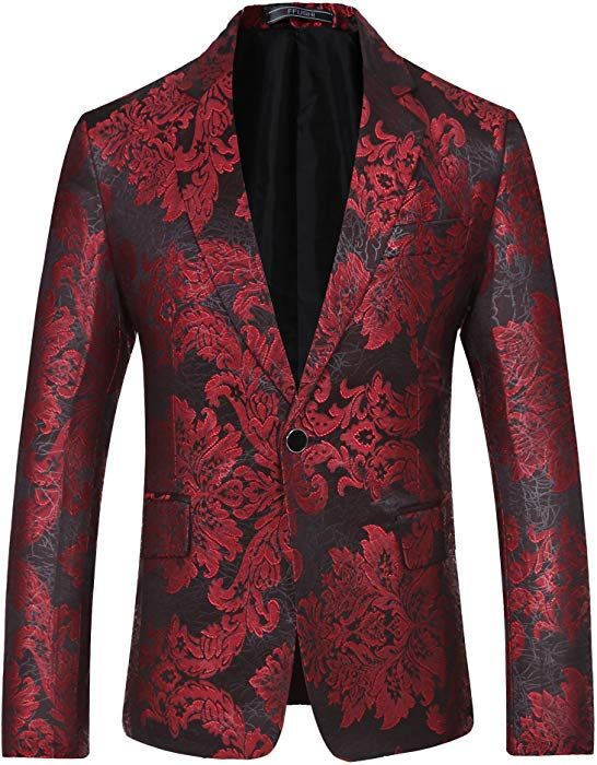 0363926769cf YFFUSHI Mens Stylish One Button Red Floral Printed Jacket Slim Fit ...