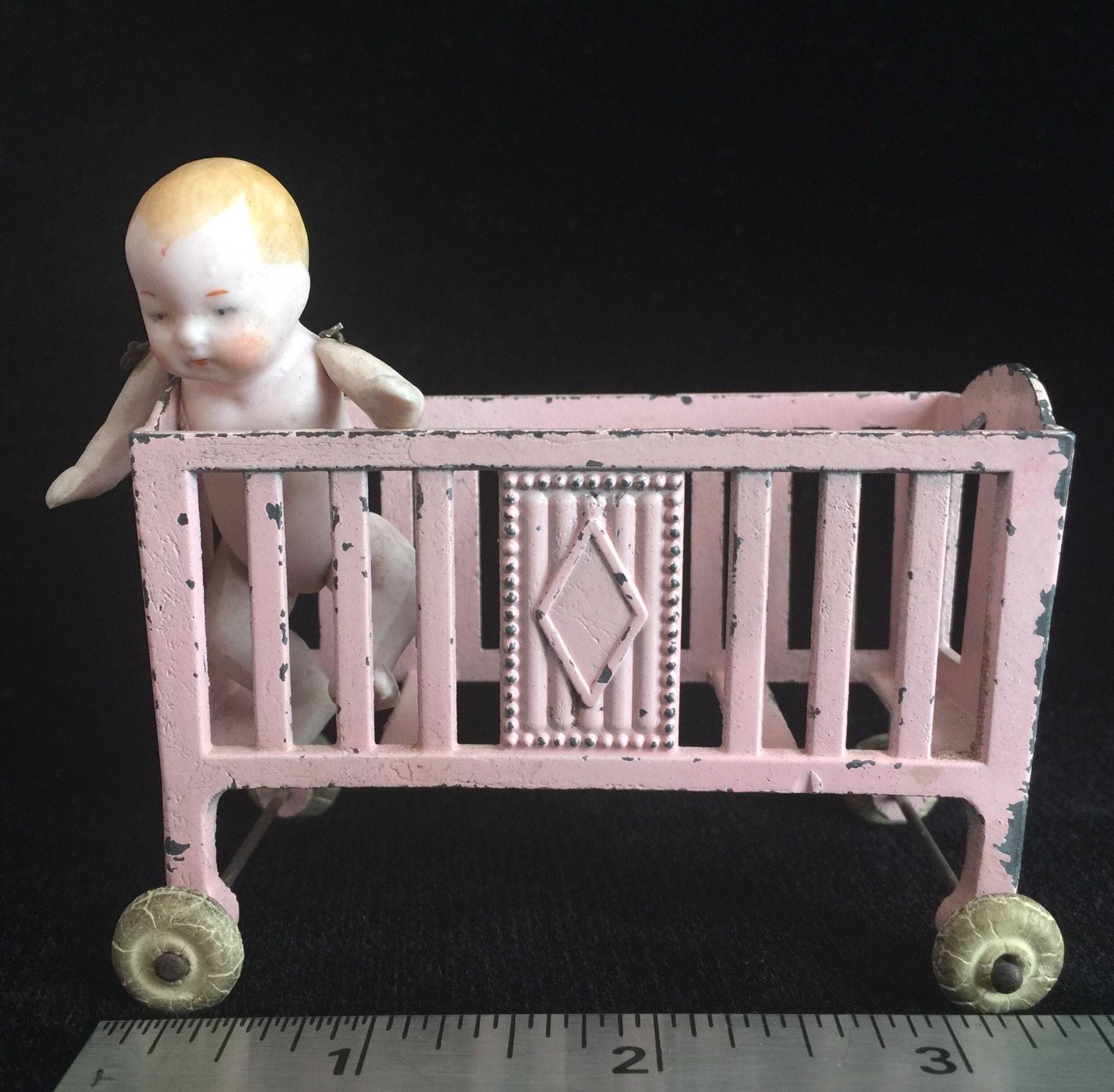 Amazing Antique Tootsie Toy Crib W Super RARE Wheels Bisque Articulated Doll  | EBay