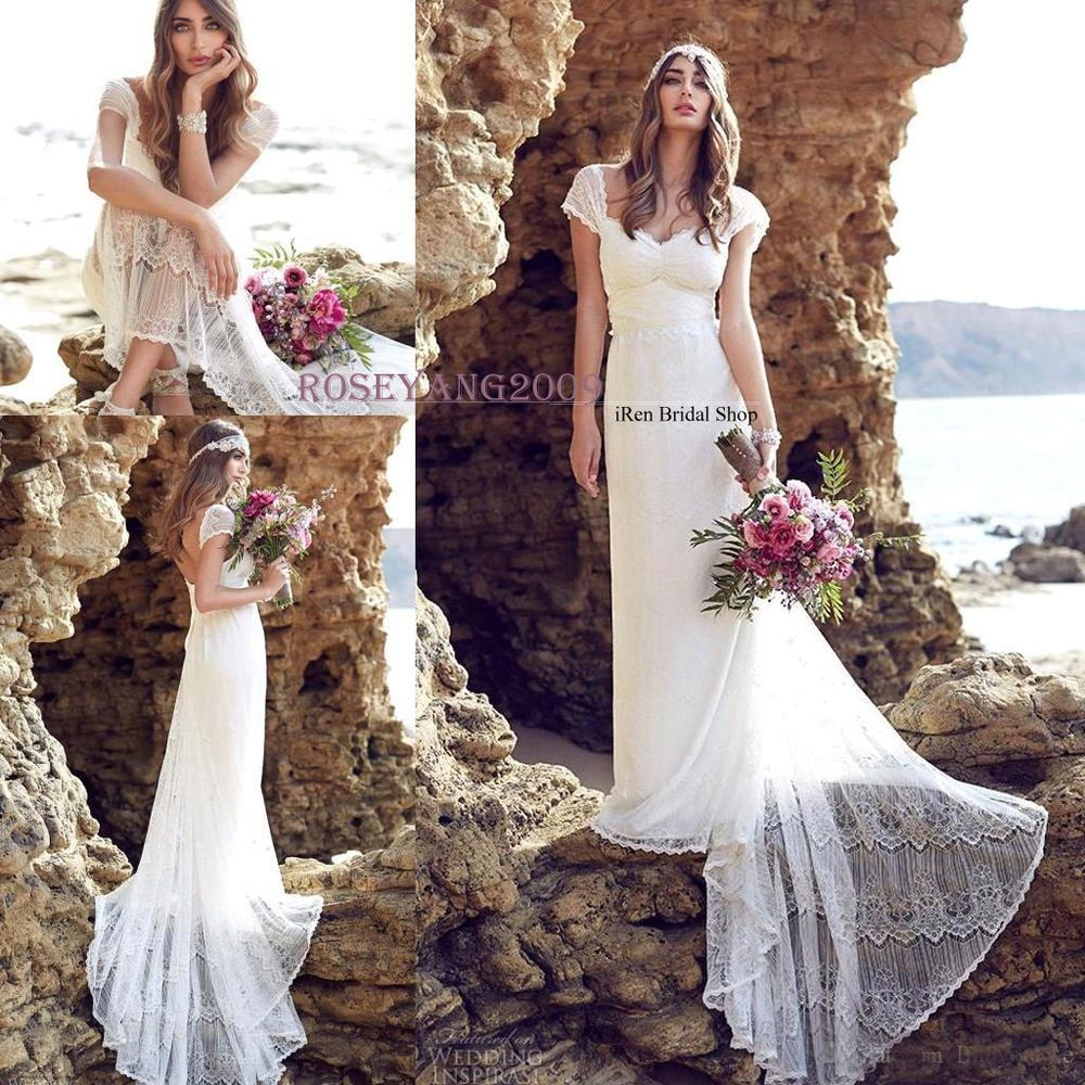 New Lace Beach Wedding Dresses Summer Vintage Court Train Bohemian Bridal Gowns