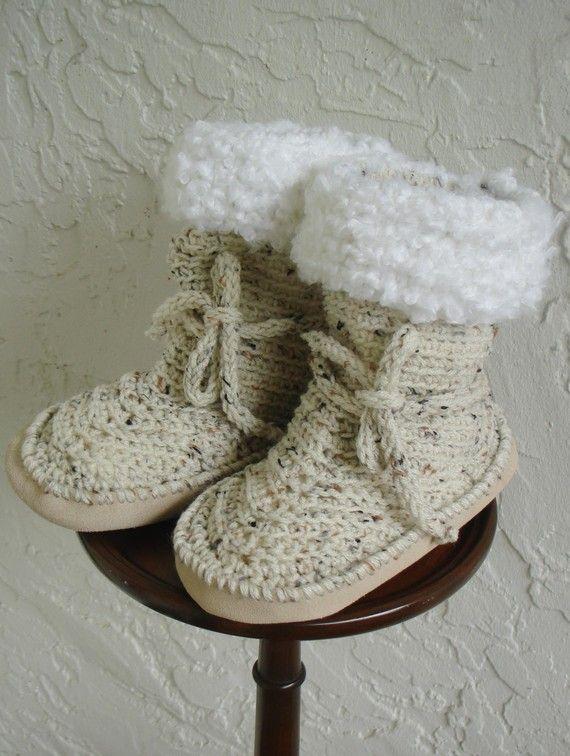 crochet Slipper boots Suede Soles fleck Medium | CALZADO TEJIDO ...