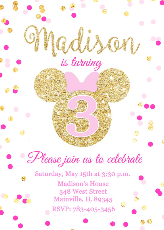 minnie mouse pink gold glitter birthday party invitation printable