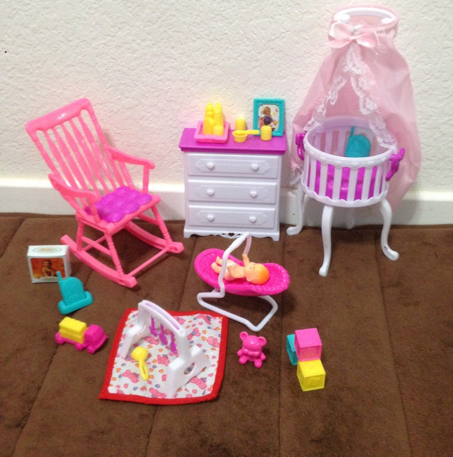 Amazoncom  Barbie Size Dollhouse Furniture Gloria Baby Home Nursery