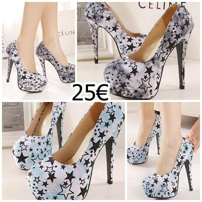 zapatos con estampado de estrellas, disponible en dos colores