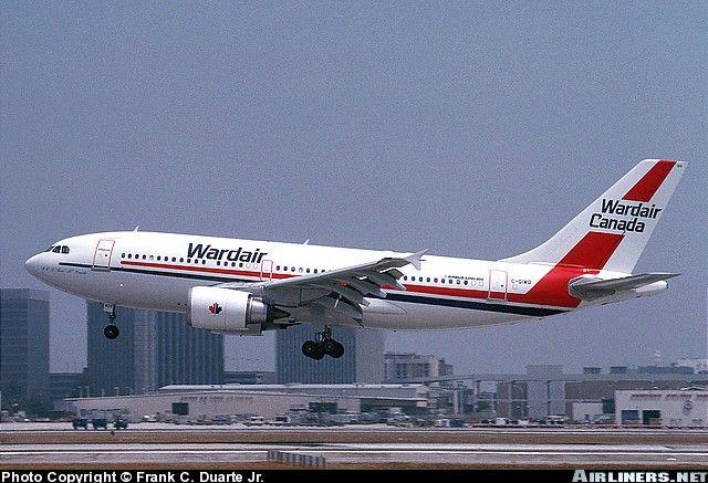 Wardair Canada Airbus A310-304 (registered C-GIWD) landing at LAX