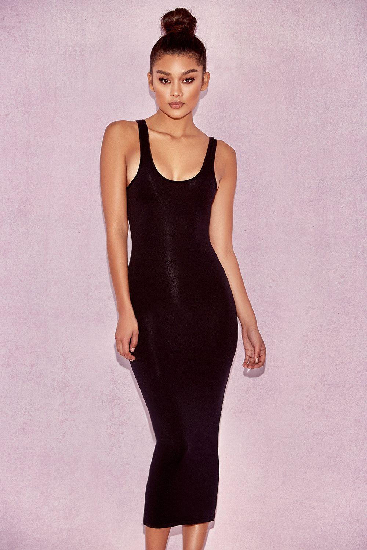 2a3bfca40908 Clothing : Bodycon Dresses : 'Tomlin' Black Midi Length Vest Dress ...