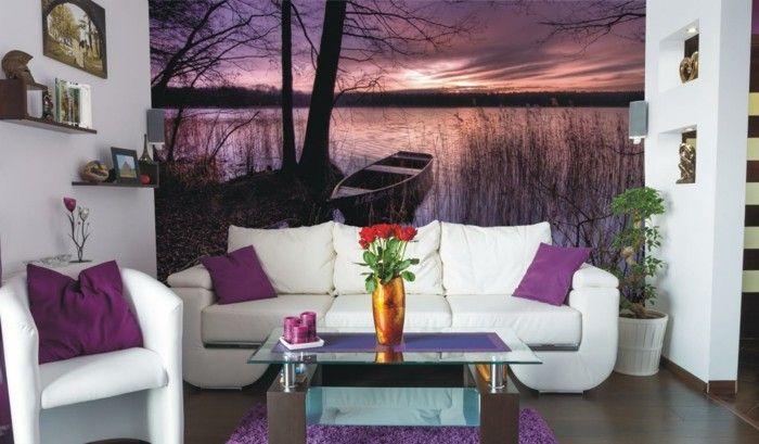 dekoideen wohnzimmer schöne wandtapete lila dekokissen weiße möbel - wohnzimmer deko lila