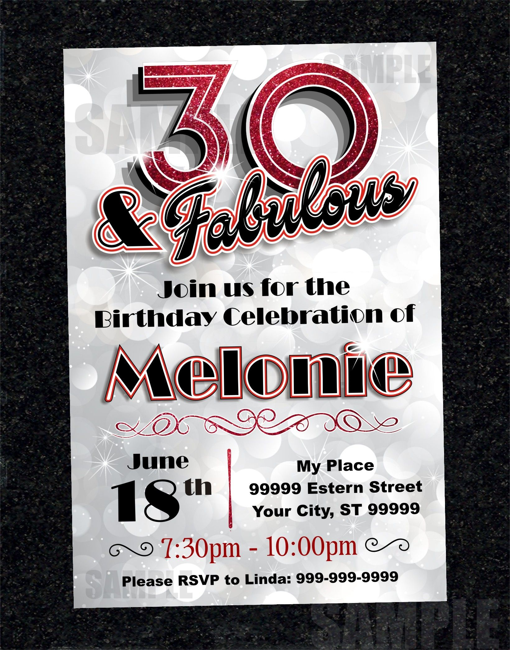 30th Birthday Invitation Card Turning 30 Printable Digital Diy 1094 30th Birthday Party Invitations 30th Birthday Invitations Birthday Invitations Girl