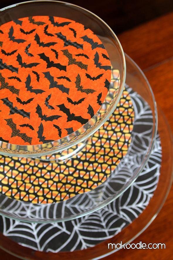 Make this dessert stand using Hobby Lobby Halloween Scrapbook Paper - hobby lobby halloween decor