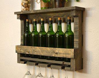 Wine Rack 6 bottle 4 Glass Holder Shelf Wall by RusticModernDecor